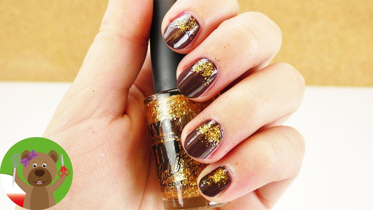 Jesienny Manicure | manicure ze złotym brokatem | czekoladowe paznokcie | pomysł dla dzieci