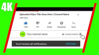 Youtube Subscribe Button and Bell Icon Green Screen | Pop Up On Screen | 4K Video