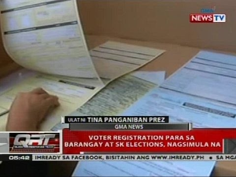 QRT: Voter registration para sa barangay at SK elections, nagsimula na