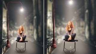 Girl in street light photo manipulation | photoshop tutorial cc