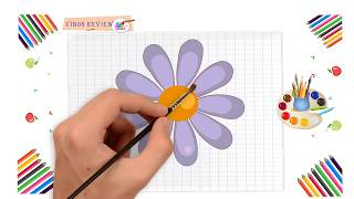 How to Draw Funny FLower Easy Step by Step | Vibon Review