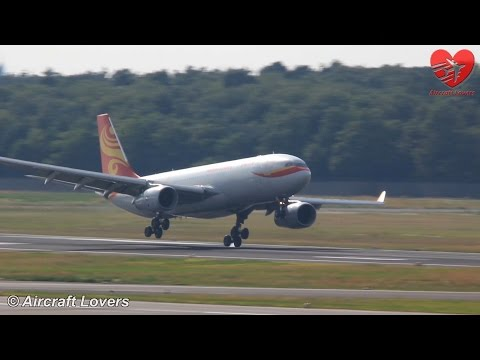 Crosswind Landing Hainan Airlines Airbus A330 [B-6116] @ Germany, Berlin-Tegel 23.07.14