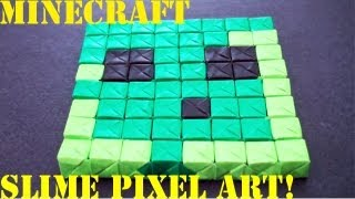 Minecraft Slime Pixel Art (no Glue Or Tape - Sonobe): Daily Origami - 500 [tcgames Hd]