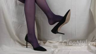 #47 shoeplay with purple pantyhose and high heels
