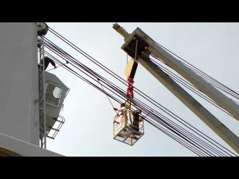 ship's crane wire greasing