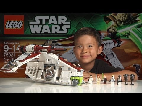REPUBLIC GUNSHIP 2013 - LEGO Star Wars Set 75021 Time-lapse. Stop Motion. Unboxing & Review