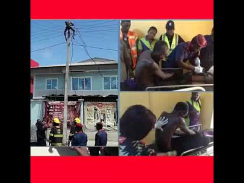 Man climbs electric pole in lagos.  Demands 5million naira