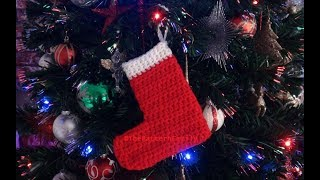 How to Crochet Medium Christmas Stocking Pattern #177│by ThePatternfamily