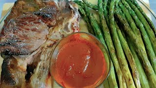 ASMR EATING:Steak Beef,Asparagus Spicy sauce|Eating Sound(No Talking)Love Vegetables Eat Food online