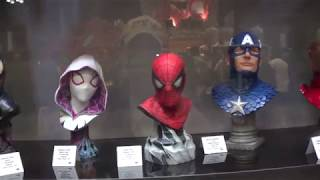 Diamond Select ironman, Spiderman, Venom, Spider Gwen, Capt.America Bust Statue at NYCC 2018
