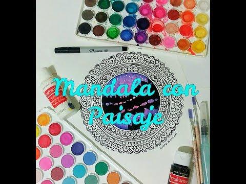 Mandala con Paisaje🌲✨🌸🎨 || Inspirado en un dibujos del canal LOS TUTOS