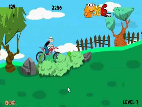 Flash Game Review - Popeye Bike Walkthrough levels 5-8