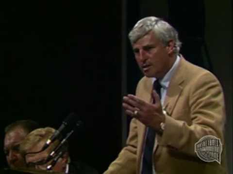 "Pete Newell introduces Robert M. ""Bob"" Knight as he delivers his speech upon being enshrined to the Naismith Memorial Basketball Hall of Fame as part of the ..."