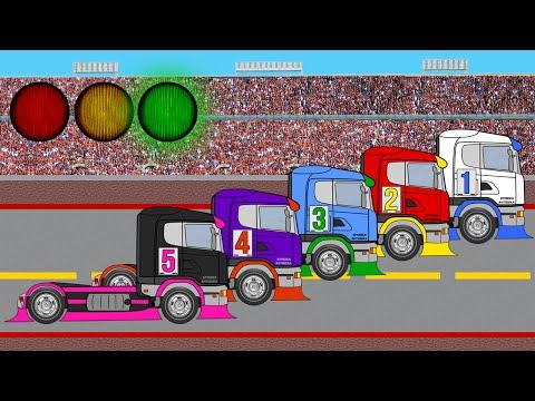 Автомеханик Роби и гоночные тягачи. Гонки. Учим цифры до 5