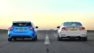 DRAG RACE! Mercedes A45 AMG VS BMW M4!