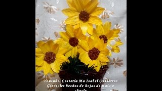 Girasoles hecho de hojas de maíz o choclo. DIY. Sunflowers made from corn leaves