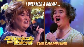 Susan Boyle Recreates Her Viral 34 I Dreamed A Dream 34 Moment Agt Champions