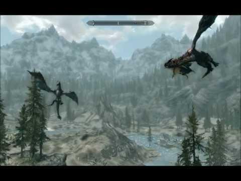 The Elders Scrolls V: Skyrim - Battle of dragons.