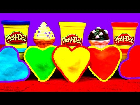 Play Doh Love Hearts Surprise Eggs Cookie Monster Eats Ice-Cream Cake Disney Princess Spongebob Car