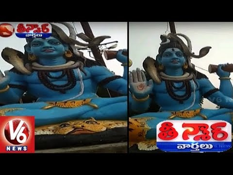 Real Snake Appears On Lord Shiva Statue In Peddapalli District | Teenmaar News
