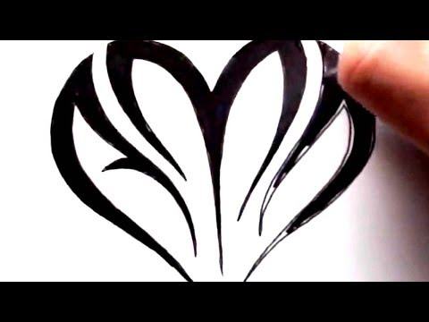 drawing initials inside a heart shape tribal tattoo