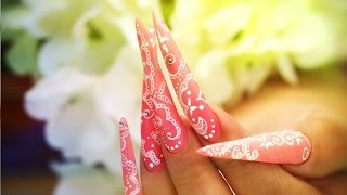 Nail Art - Hand-Painted Lace On Stiletto Tutorial