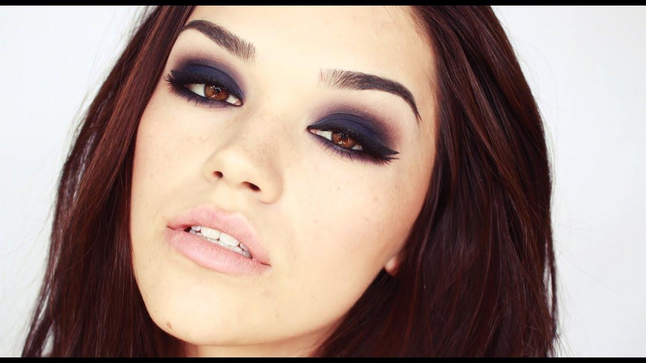 intense blue smokey eyes make up tutorial youtube