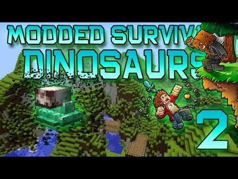 Minecraft: Modded Dinosaur Survival Let's Play w/Mitch! Ep. 2 - FAILURESAURUS!