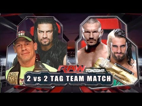 WWE RAW 2014 - John Cena & Roman Reigns vs Seth Rollins & Randy Orton - Full Match HD