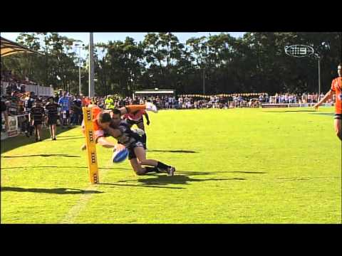 Easts Tigers winger Ryan Pooley pulled off a stunning put down in his side's Round 6 Intrust Super Cup clash against Tweed Heads Seagulls at Langlands Park, ...
