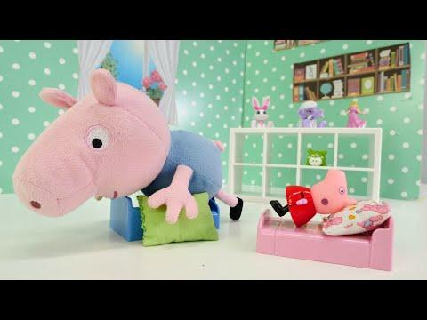 Spielspaß mit Peppa Wutz. Spielzeugvideo für Kinder. Schorsch möchte groß sein.