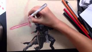 Drawing Kylo Ren from Star Wars:The Force Awakens