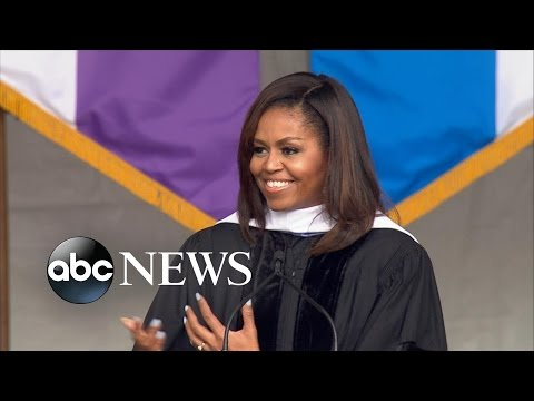 Michelle Obama Rebukes Trump's Border Wall in Speech to Graduates