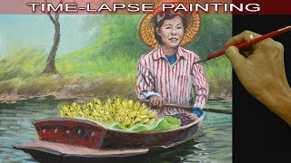 Acrylic Painting in Time Lapse Old Lady Fruit Vendor on a Boat by JM Lisondra