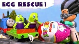 Funny Funlings Kinder Surprise Egg Rescue with Thomas The Tank Engine from PJ Masks Romeo  TT4U