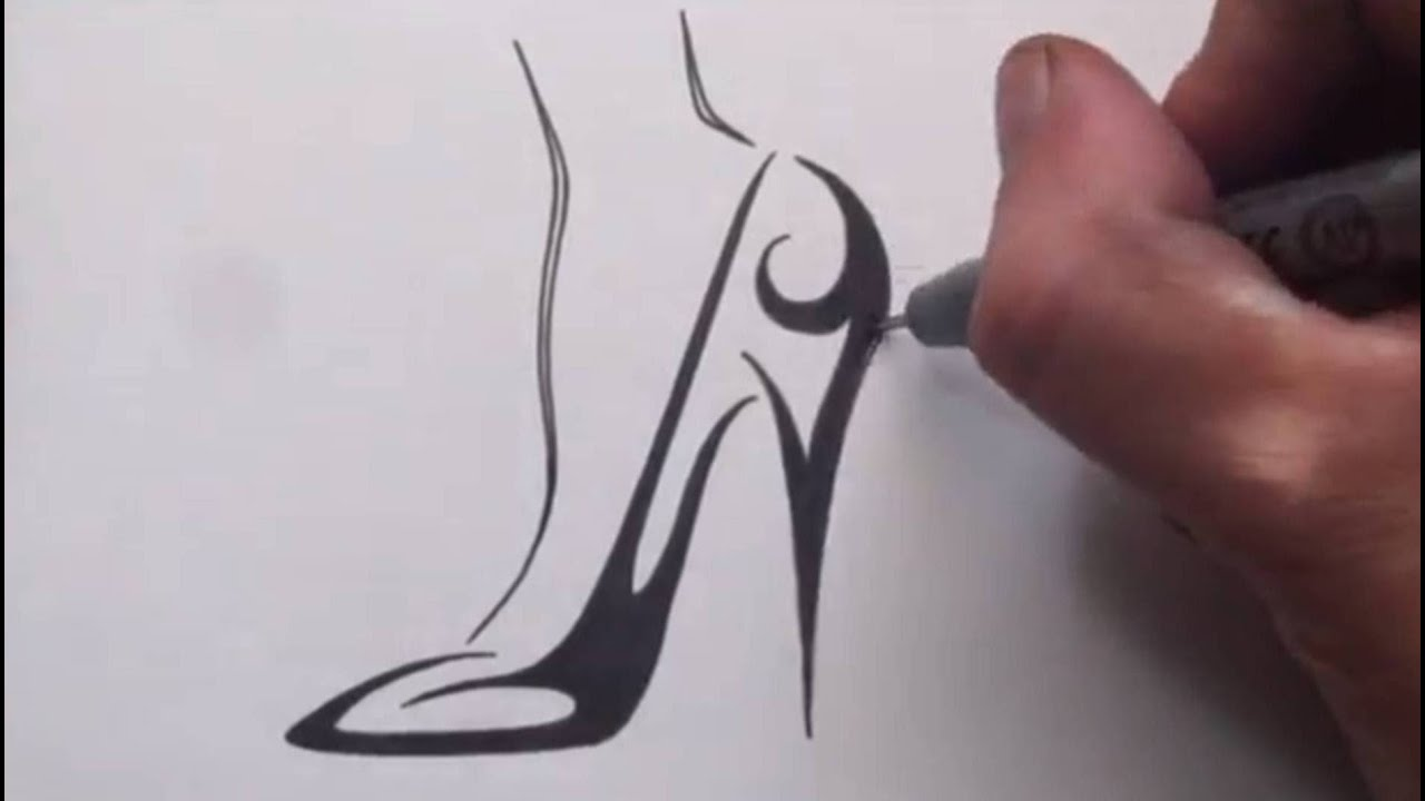 how to draw a high heel shoe tribal tattoo design youtube. Black Bedroom Furniture Sets. Home Design Ideas