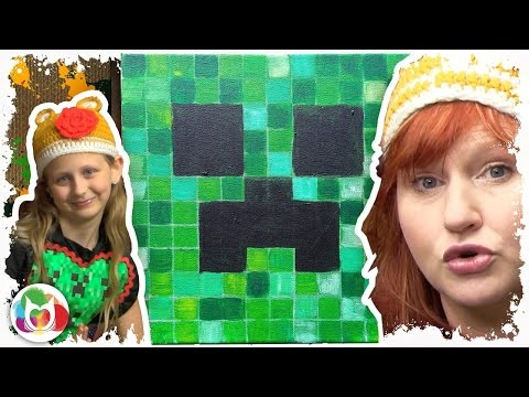 How to Paint a Minecraft Creeper  acrylic on Gallery wrap Canvas