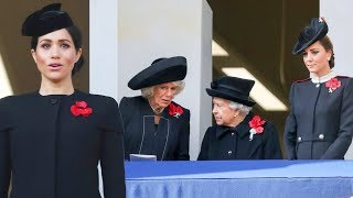 Why Meghan stood on a separate balcony to Queen, Kate & Camilla at Remembrance Ceremony