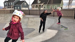 Adley learns to Skate - what we do in our backyard! (and play picnic with mom)