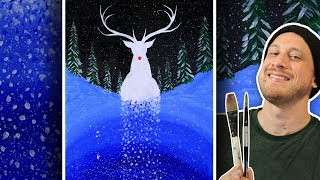 Surreal Snowfall Reindeer Painting - Step By Step Painting Class