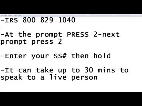Irs phone number for live person 2014 kickass