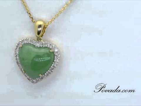 0 Jade Diamond Gemstone Pendant in Yellow Gold [P15823GJ]
