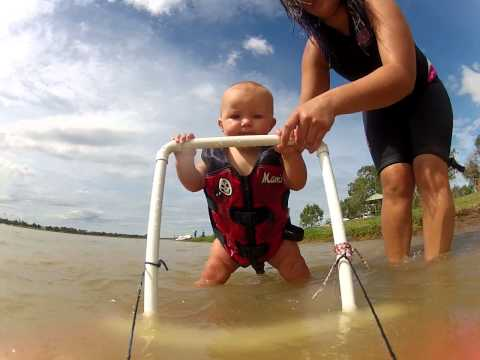 Baby Ryder's On His Way To Waterski! 7.5 Month Old Baby On Learner Ski! ORIGINAL