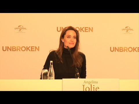 Angelina Jolie with Jack O'Connell and Miyavi UNBROKEN press conference in Berlin!
