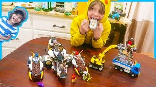 Motorized Lego Ninjago Stealth Raider Vs  Lego City Dump Truck and Excavator