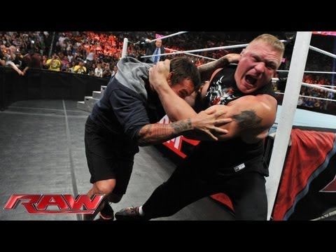 Brock Lesnar attacks CM Punk: Raw. July 15. 2013