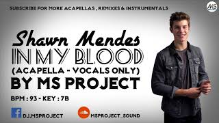 Download Lagu Shawn Mendes - In My Blood (Acapella - Vocals Only) Gratis STAFABAND