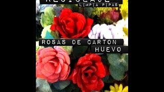 Rosas de cartón de huevo y limpiapipas Roses made of recycled EGG carton