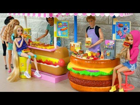 Barbie Hamburger Stand Hotdog Stand Toy Puppe Hamburgerladen Barbie Loja de Hambúrguer