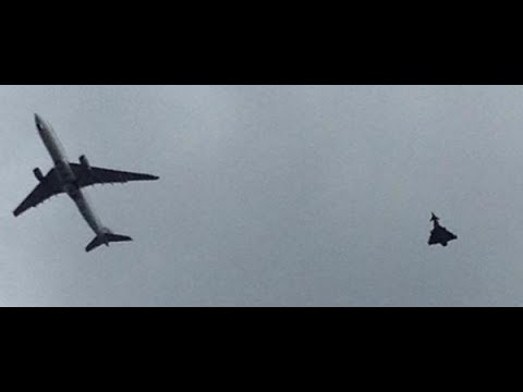 Caught on Camera: Fighter jet escorts QR23 safely down to Manchester airport